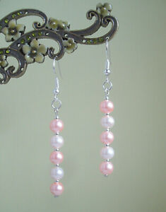 Pretty Two-Tone Pink Glass Pearl Silver Plated Dangly Drop Earrings