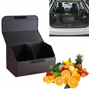 Car Trunk Storage Box Boot Organizer Cargo Tidy Collapsible Leather Case Large