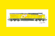 "Union Pacific ES44AC #7400 Pink Ribbon 11""x17"" Matted Print Andy Fletcher signed"