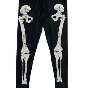 Lularoe OS Halloween Leggings Black Leg Bones Skeleton 2021 Witch Please