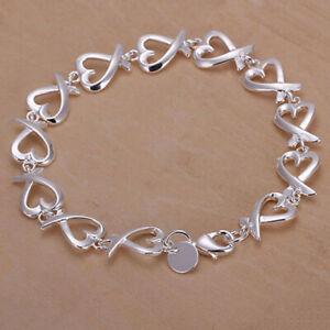 "925 Silber Armband ""HERZ-KETTE"" Damen Frauen Schmuck  Armkette Armband NEUWARE"