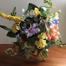 Tea Cup Faux Silk Flower Arrangement. Peach, Yellow, Green, Blue.  Incl Stand