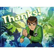 Ben 10 Alien Force Thank You Cards 8 Per Package Birthday Party Supplies New