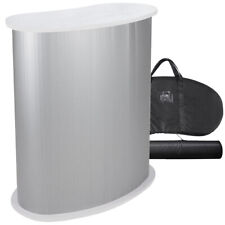 Podium Table Counter Stand Trade Show Display White Top Impact Stand Oval Withcase
