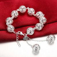 925 Sterling Silver Filled 14mm Filigree Hollow Heart Ball Charm Bracelet Bangle