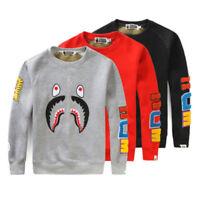 POP BAPE A Bathing Ape Shark Jaw Crew Neck Long Sleeve Sweatshirt Hoodie Sweater