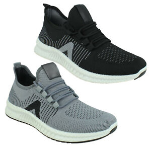 A2R186 MENS REFLX LACE UP CASUAL BLACK GREY SPORTS RUNNING KNITTED TRAINERS