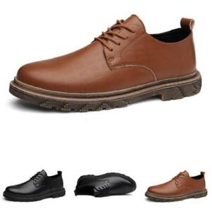 Mens Faux Leather Business Leisure Shoes Work Office Round Toe Oxfords Lace up L