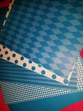 Scrapbook paper 12x12 DOTS STRIPES BRIGHT BLUE 5 pgs