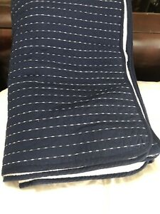 Navy Blue Pick-Stitch Cotton  King Quilt White Stitching by Modern Dreams NWOT