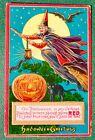 Halloween  Vintage Postcard, Halloween Witch, Gelatin Finish, RED, 1910