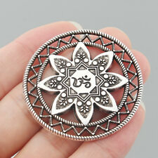 2Pcs Antique Silver Alloy Round Carved OM OHM YOGA Symbol Charms Jewelry Pendant