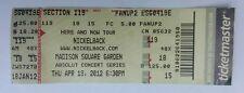 Nickelback Concert Ticket Stub April 19, 2012 Madison Square Garden New York NY