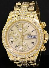 Geneve heavy 18K gold 2.75CT diamond auto. chronograph men's watch w/ day/date