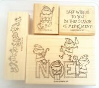 Stampin Up Merry Elves 4 Rubber Mounted Wood Stamp. Christmas Noel Stocking