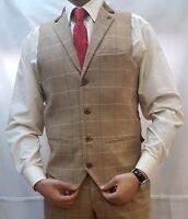 Marc Darcy Vintage Check Waistcoat Formal Tweed Oak Mens 36R-52R