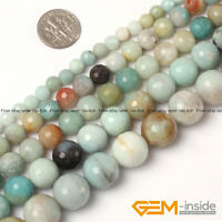 """Natural Colorful Amazonite Gemstone Faceted Round Beads For Jewelry Making 15"""""""