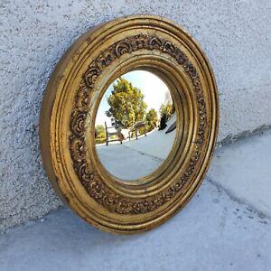 ancien miroir rond doré Convexe œil de sorcière bombé vintage retro année  50/60