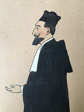 Avocat Gouache Dessin Peinture 1912 Peintre a identifier