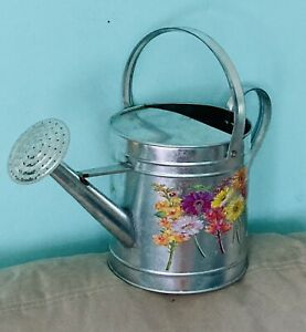Painted Floral Aluminum Watering Can