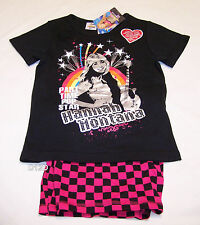 Disney Hannah Montana Girls Black Pink Printed 2 Piece Pyjama Set Size 10 New