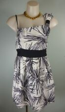 Pretty black white One shoulder Bow geo print Boxpleat dress sz 10