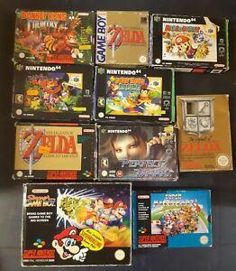 10x Nintendo 64, super nintendo snes, Game Boy, Spiele Verpackung Zelda, Mario..