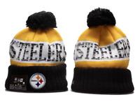 Pittsburgh Steelers NFL Football Beanie Warm Pom Knit Cap Hat Fleece lined