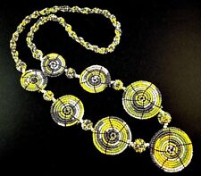 1 Bohemian Multi Colour Glass Beaded Circle Disc Pendant Necklace - # B15