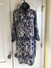Womens The Limited Blue Animal Print Shirt Dress Size L