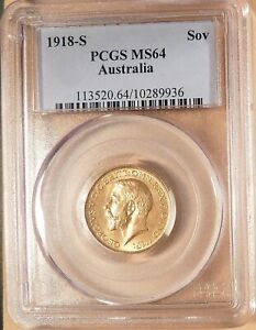 1918-S Australia Gold Sovereign, PCGS MS64, Super Coin, Right on Grading.