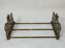 Vintage Art Nouveau Cameo Face Brass Adjustable Sliding Bookend Rack