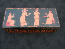 Boite coffret bois noirci peint Grèce antique d'epoque Napoléon III 19ème