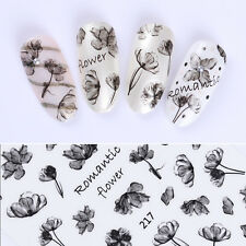 Ink Painting Flower Black 3D Nail Sticker Nail Art Transfer Decals Manicure Tips