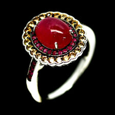 NATURAL PINK RUBY & SAPPHIRE RING 925 SILVER STERLING SZ7