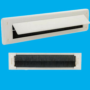 1x White PVC Door Letter Box Draught Excluder Brush Seal 338 x 78 mm, With Flap