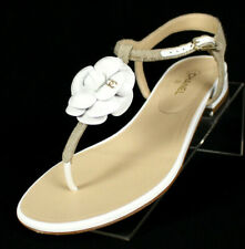 CHANEL $895 Beige Canvas & White Patent Camellia Thong Sandals 39.5