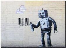 "BANKSY STREET ART *FRAMED* CANVAS PRINT Bad Robot 24x16"" stencil - brick wall"