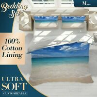 Beach Waves Nature Landscape Blue Quilt Cover King Bed Single Double Queen Size