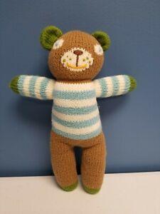 """Blabla Plush Stuffed 11"""" Boy Teddy Bear Doll Blue Striped Shirt s1"""