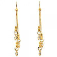 14K Solid Yellow Gold Diamond Cut Long Dangle Hanging Hook Earrings