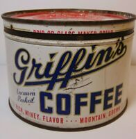 Old Vintage 1950s GRIFFIN COFFEE TIN GRAPHIC TIN CAN ONE POUND MUSKOGEE OKLAHOMA