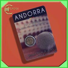 """2 Euro € Gedenkmünzen 2016 Andorra, """" 25 Jahre Radio + Fernsehen"""", BU, Coincard"""