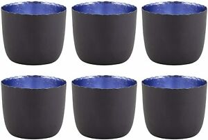 Matte Grey and Blue Colored Votive Candle Holders for Dining Room, Pack of 6