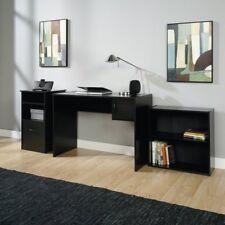Office Desk Set 3-Piece Bookcase Computer Table Workstation Furniture - Black