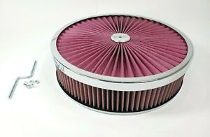 14x3 Round Super Flow Chrome 4BBL Washable Air Cleaner Assembly (Offset Base)