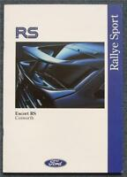 FORD ESCORT RS COSWORTH UK Market Car Sales Brochure June 1992 #FA1067