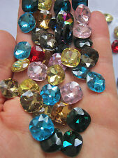 8 Glass Pointed Back Rhinestone Cabochons, Back Flated, Faceted chatons mixed