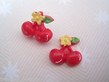 *CUTE RED CHERRIES* LUCITE STUD Earrings YELLOW FLOWER GIFT Rockabilly CHERRY