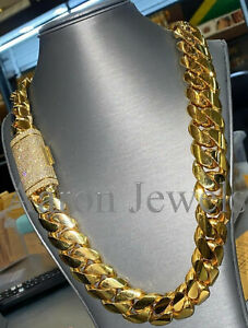 """20mm x 22"""" Miami Cuban Link Necklace NATURAL MOISSANITE Yellow Gold over Silver"""